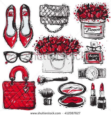Big vector fashion sketch set. Hand drawn graphic shoes, bag