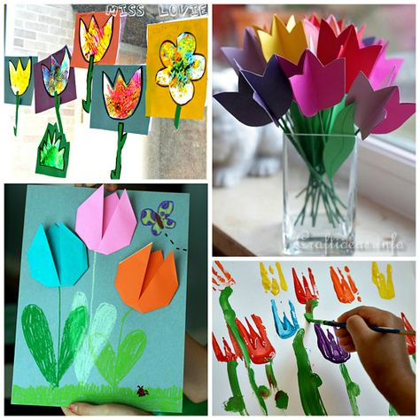 Here is a list of pretty tulip crafts for kids to make! Perfect art projects for summer or spring time.