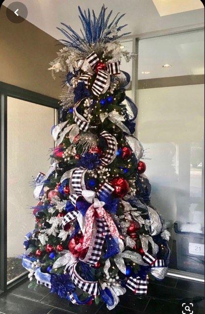 Pin By Shiloh Collins On Christmas Season With Images Blue Christmas Tree Blue Christmas Tree Decorations Ribbon On Christmas Tree