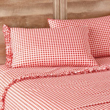 The Pioneer Woman Gingham Coral Ruffle Queen Sheet Set Walmart Com Sheet Sets Queen King Sheet Sets Gingham Sheets