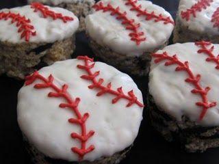 Baseball rice krispies...with Oreos! Yum!