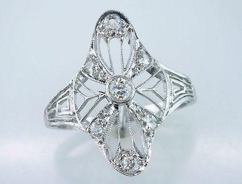 Vintage Antique 1/3ct Diamond Platinum Art Deco Filigree Cocktail / engagement Ring, $795.00