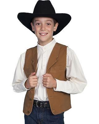 Kid/'s Boy/'s New Scully Western Cowboy Lambskin Vest Black