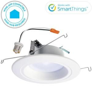 Halo Rl 4 In White Wireless Smart Integrated Led Recessed Ceiling Light Fixture Trim With Selectable Color Temperature Rl460whzha69 Downlights Led Recessed Ceiling Lights Installing Recessed Lighting