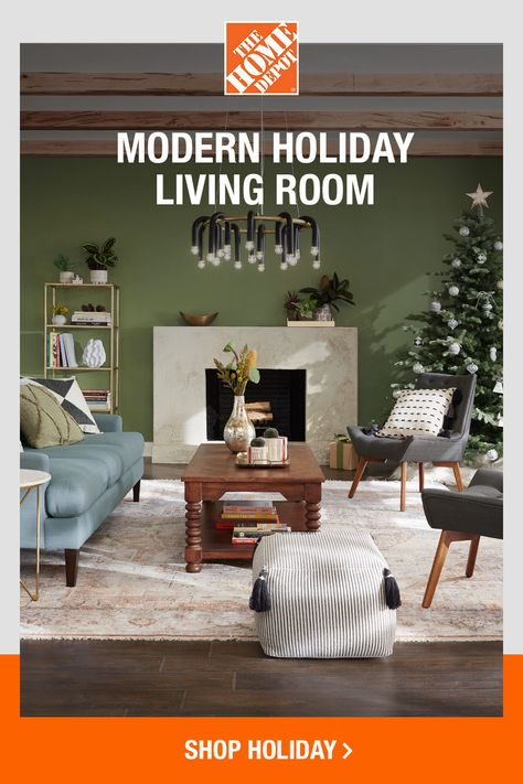 "The Home Depot partner, Dabito from blog ""Old Brand New"", absolutely nails modern-meets-vintage style with this festive yet sleek winter living room. From the furniture and decorative accents to the holiday touches, tap to shop all of his picks and more online at The Home Depot."