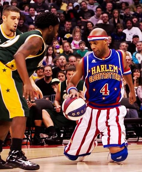 From dribbling on his knees to flying through the air, #4 Flight Time can just about do it all.  Get his Globetrotters jersey here.