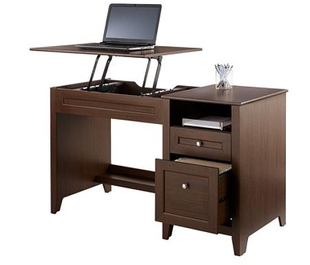Realspace Premium Modern Manual Height Adjustable Desk Mocha By Office Depot Officemax 199 00 Adjustable Height Desk Desk Adjustable Desk