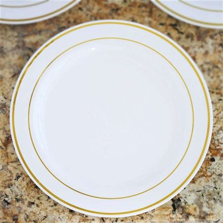 10 Pack White With Gold 9 Round Disposable Plate Tres Chic