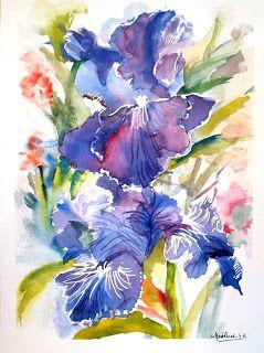 Dans Les Pinceaux L Iris Bleu Aquarelle Par Madeleine Sampol