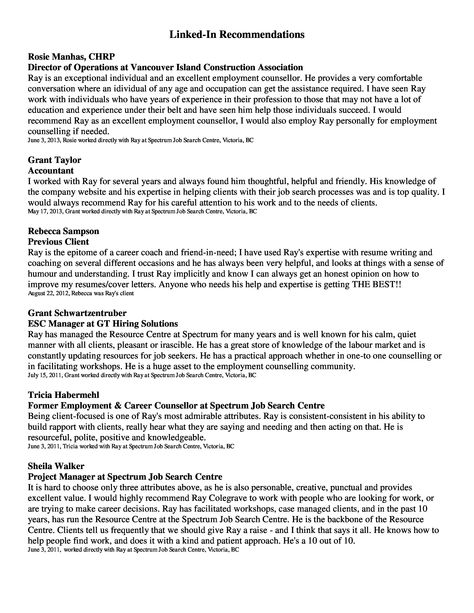 Page  Of  Page Resume  Ray Resume And Recommendations