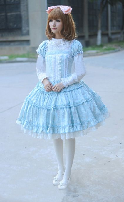 Lolita, baby blue dress, long torso, long sleeve, white sheer, pink bow, love this dress.