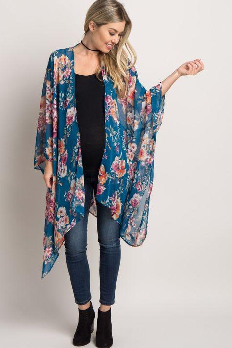 Teal Rose Chiffon Maternity Kimono