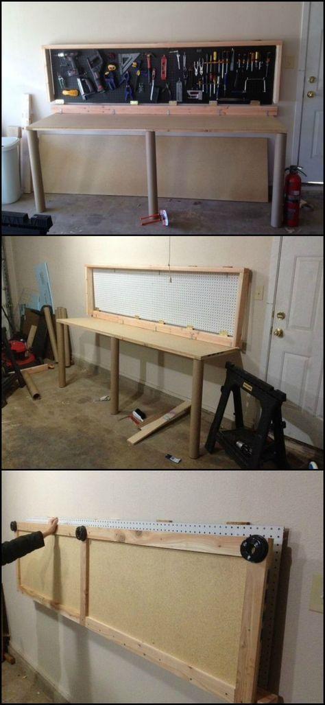How To Build A Wall Mounted Folding Workbench Diygaragestorage Diyworkbench Diyandcrafts Diyprojects Diyid Folding Workbench Workbench Garage Work Bench