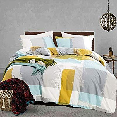 Amazon Com Jumeey Art Duvet Cover Set Queen Abstract Plaid Bedding Set Full 100 Cotton 3 Piece Mode Full Bedding Sets Blue And Yellow Bedding Comforter Cover