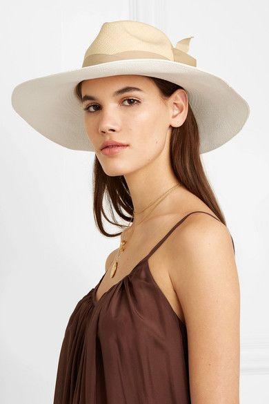 3c29d3cbd Sensi Studio - Grosgrain-trimmed two-tone toquilla straw Panama hat ...