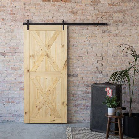 Belleze 24 W 60 W Unfinished Sliding Barn Door Pine Single Door Walmart Com In 2020 Diy Sliding Barn Door Barn Doors Sliding Wood Barn Door