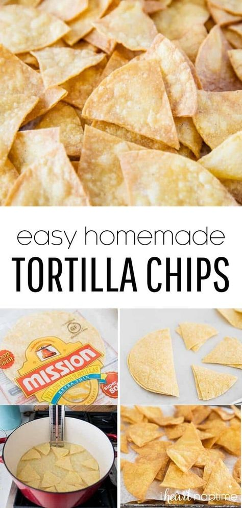 This homemade tortilla chips are light, airy and super crispy. These are so simple, you just need 3 ingredients and 20 minutes. They're absolutely delicious, you'll love this tortilla chips recipe! #chips #chipsanddip #tortillas #tortillachips #mexican #mexicanrecipes #mexicanfood #chipsandsalsa #easyrecipes #recipes #iheartnaptime