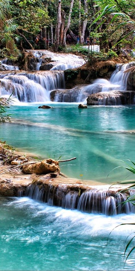 If you get the chance to travel around South East Asia, you must visit the Kuang Si Falls in Luang Prabang, Laos. Here at Mindful Chef, lots of our recipes are inspired from our travels, so the flavours are authentic and bring back happy memories. Vientiane, Luang Prabang, Laos Travel, Asia Travel, Beach Travel, Wanderlust Travel, Beautiful Waterfalls, Beautiful Landscapes, Uk And Ie Destinations
