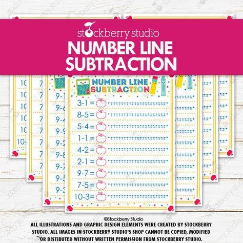 Number Line Math Subtraction Printable Kindergarten Math Worksheets Preschool 1st Grade Math