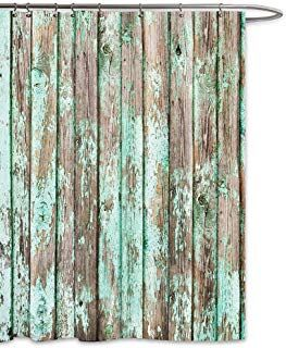 Fkog Barn Wood Shower Curtain Vintage Green Country Wooden