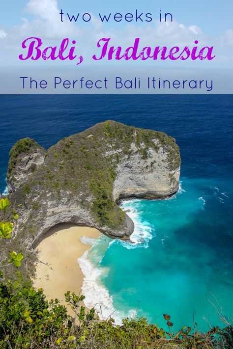 Two Weeks in Bali, Indonesia The Perfect Bali Itinerary by JetSettingFools.com Our Bali tour itinerary includes the things we loved best about our trip: seaside relaxation, phenomenal scenery, incredible food and amazing sunsets. Rather than staying in one location, our Bali travel itinerary takes visitors to multiple destinations for a better overall experience.