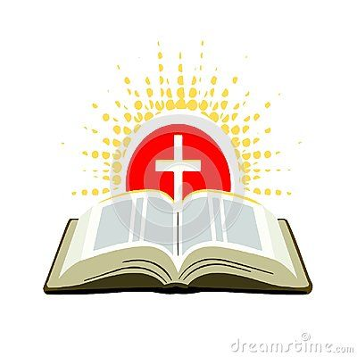Illustration Open Bible With Cross And Rays Of The Sun Wihtntextured Dots Church Logo Open Bible Holy Bible Book