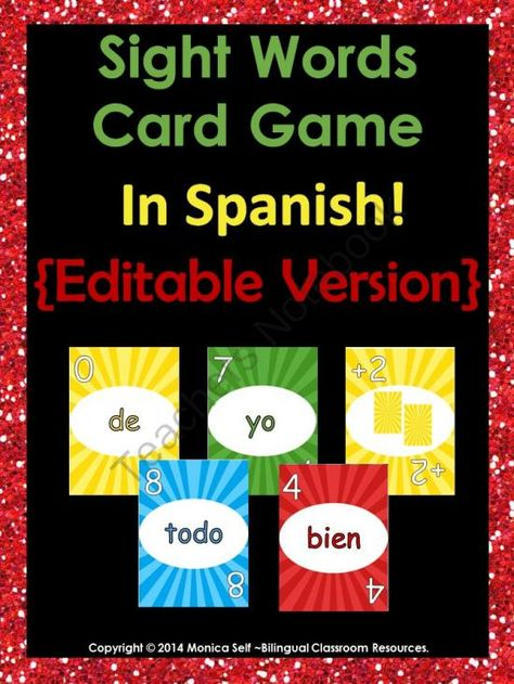 Sight Words Card Game In Spanish! Editable Version from Bilingual Resources on TeachersNotebook.com -  (21 pages)  - Are you looking for a fun way to practice sight words in Spanish with your class? Play sight words Uno with them. I have included the first 80 sight words in Spanish from de Real Academia Espa�ola.  Words included are: de, la, que, el, en, y, a, los, se,