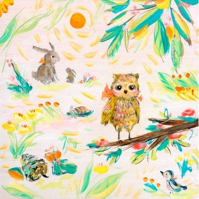 Harriet Bee Tristen Owl, Buns and Bird by Allyn Howard Stretched ...