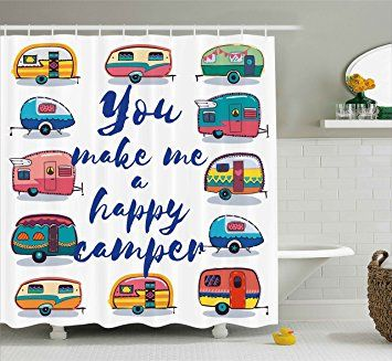 Camper Shower Curtain By Ambesonne You Make Me Happy Camper Motivational Quote With Caravans Retro S With Images Retro Campers Diy Camper Organization Bathroom Decor Sets