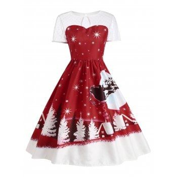 UNBRUVO 2019 Dresses for Women Merry Christmas Vintage Santa Claus Lace Party Dress