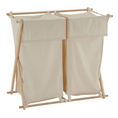 Household Essentials Collapsible Wood X Frame Laundry Hamper
