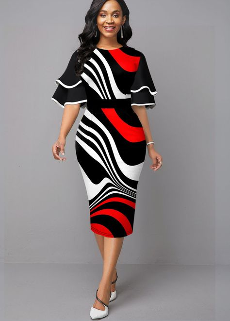 Contrast Ruffle Sleeve Stripe Print Sheath Dress | modlily.com - USD $30.30