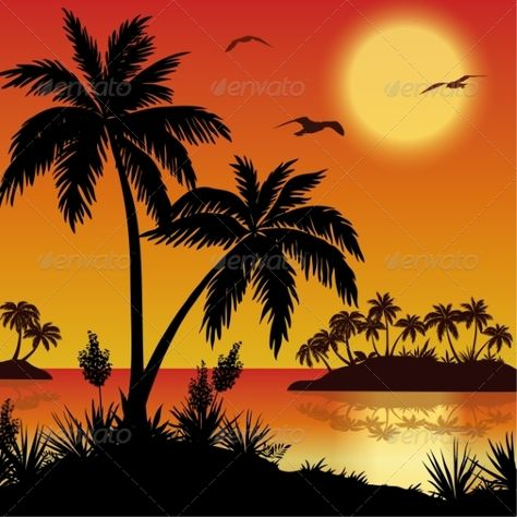 Tropical landscape, sea islands with palm trees, flowers, sun and birds gulls, black silhouettes on red yellow background  Vector