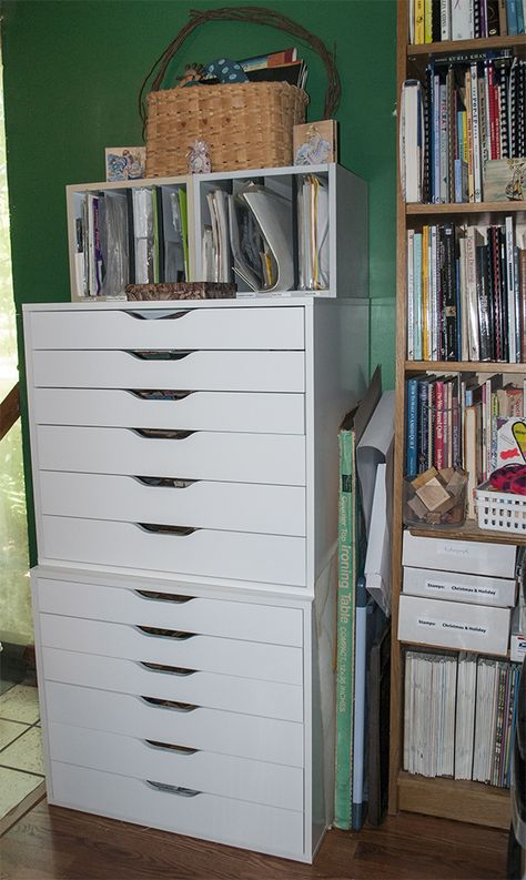 St& Storage. Inexpensive IKEA drawer units tweaked to hold rubber st&s (both mounted and unmounted.) & Rubber stamp storage. IKEA Really awesome idea but I would need alot ...