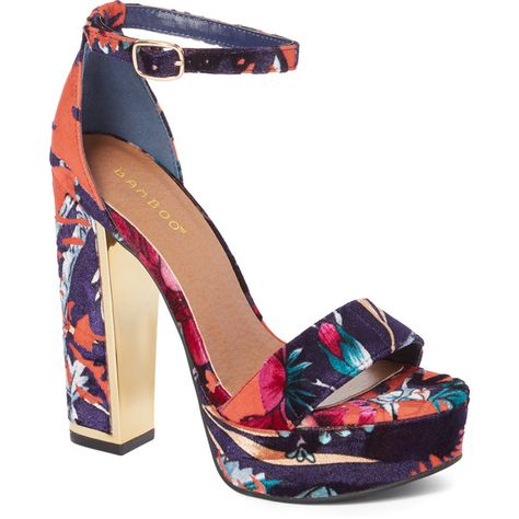 24ca8910383 Bamboo Orange Floral Inclined Block Sandal ($25) ❤ liked on ...