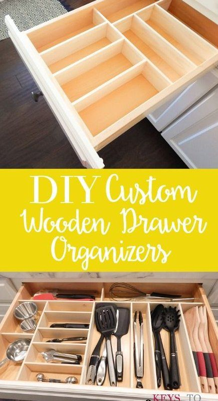 Diy Custom Wooden Drawer Organizers Kitchen Easy Tutorial For Creating Your Own Custom Wooden In 2020 Wooden Drawer Organizer Kitchen Organization Diy Wooden Drawers