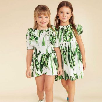 eb67faa7c4a8 DOLCE   GABBANA GIRLS GREEN PISELLI PEA PLAYSUIT   DRESS