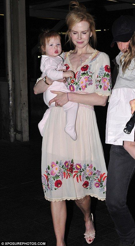 Nicole Kidman coordinates spring attire with her girls as she jets out of LA with Keith Urban Nicole Kidman wearing a Hungarian folk dress with traditional paprika and floral motifs ('Kalocsa embroidery')