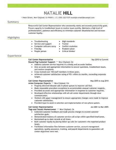 Customer Service Call Center Resume Sample Resume Examples Good Resume Examples Resume Template Free