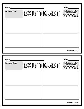 Exit Ticket Template Math Exit Tickets Exit Tickets Template