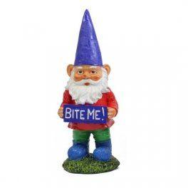 Exhart 14 Multi-color Garden Gnome with Attitude Statue BUG OFF Novelty