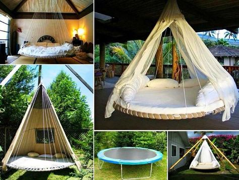 Diy Bed Swing Use A Trampoline Suspended In The Air As A Bed Swing You Can Even Dress It To Look Li Oude Trampoline Kleine Tuin Ontwerpen Trampoline Schommel
