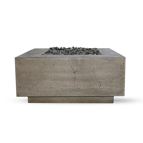 Natco Products Santa Rosa 36 In X 16 In Square Concrete Natural Gas Fire Pit In Pewter With 27 Lbs Bag Of 0 75 In Black Lava Rocks Silver Natural Gas Fire