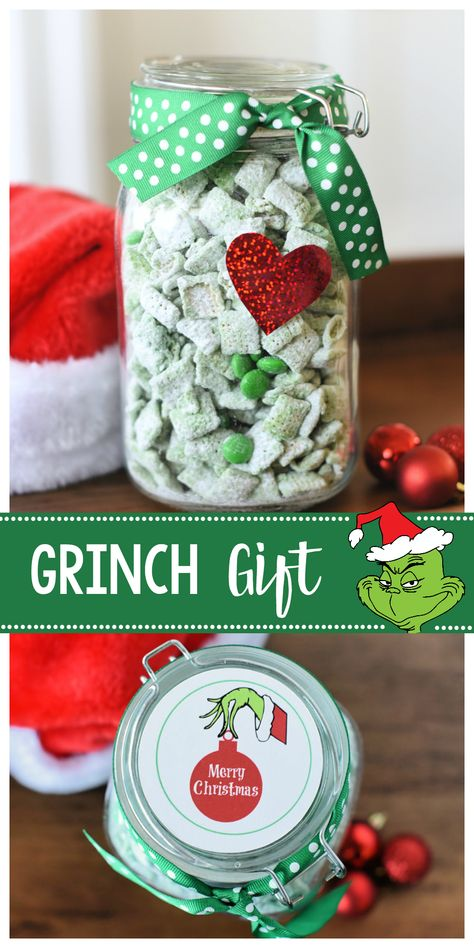 Peppermint Grinch Muddy Buddies Grinch Gift Idea for Christmas-Fill a jar with this Grinch mix (peppermint muddy buddies) and add a red heart and this cute tag and you've got a fun gift for friends or neighbors! Christmas Neighbor, Neighbor Christmas Gifts, Cute Christmas Gifts, Christmas Jars, Grinch Christmas, Christmas Gifts For Friends, Neighbor Gifts, Christmas Goodies, Handmade Christmas