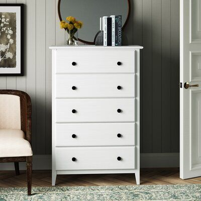 Greenport 5 Drawer Chest Color Brushed White White Chest Of Drawers 5 Drawer Chest Wardrobe Furniture White wooden chest of drawers