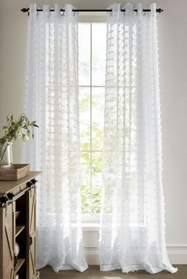 Curtain Panels Sheer Window Panel With Chenille Dots And