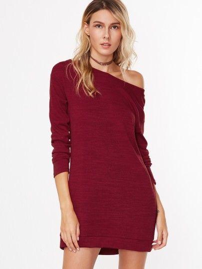 f61989622c08d Sweatshirt Kleid mit Asymmetrische Schulter in Weinrot | Damenmode ...