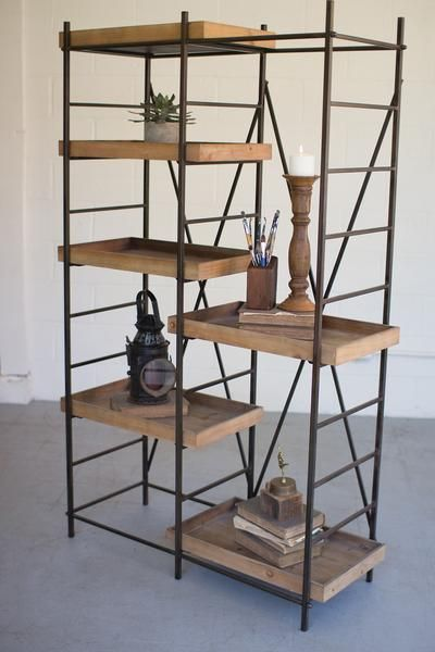 For Sale Modern Industrial Rustic Wood And Metal Shelving Unit With Six Adjustable Wooden Shelves Wood Shelving Units Wood And Metal Shelves Rustic Shelves