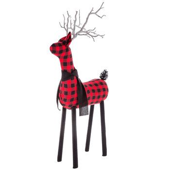 Red Black Buffalo Check Deer Figurine Large Animal Decor Buffalo Plaid Decor Buffalo Check Christmas