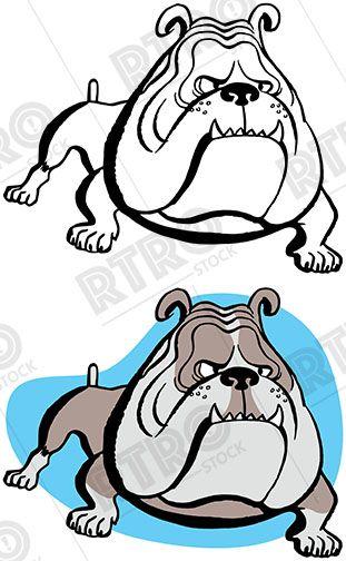 A Tough Looking Pet Bulldog Guarding His Owner S Home Vintage Retro Clipart Clip Art Stock Images Free Image Clip Art
